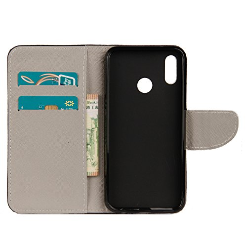 Huawei P20 Lite Flip Case,[Magnetic Closure] Silicone PU Leather Wallet Flip Folio Full body Protective Case Cover with Card Slots Cash Pocket Shell Stand for Huawei P20 Lite (Color Owls)