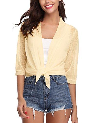(iClosam Womens Tie Front 3/4 Sleeve Sheer Shrug Cropped Bolero Cardigan (Beige, X-Large))