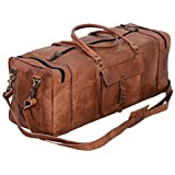 KPL 30 Inch Large Leather Duffel Travel Duffle Gym Sports Overnight Weekender Bag