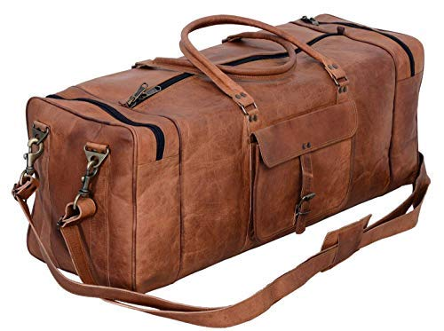 KPL 30 Inch Large Leather Duffel Travel Duffle Gym Sports Overnight Weekender Bag (Single Pocket)