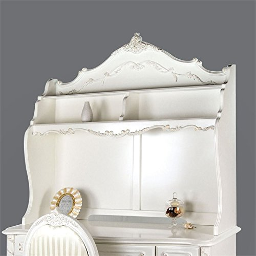 Furniture of America Rollison Hand-Brushed Hutch in Pearl White by Furniture of America