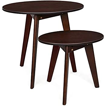 "fd1445ec5a VASAGLE Solid Nesting Set of 2, Oak Coffee End Living Room, Bedroom, Oval Side  Table, Wood Grain, Espresso ULET11BR, Large 23.6""L x 15.7""W x 21.7""H"