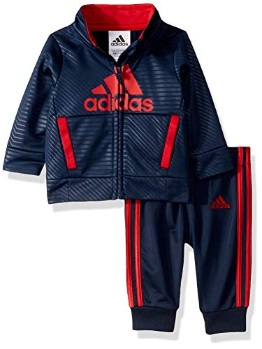 (adidas Baby Boys BOS Tricot Jogger Tracksuit 2-Piece Set, Strong Adi Navy, 12 Months)