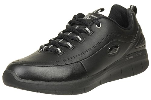 Skechers Womens Synergy 2.0 Black Walking Lightweight Leathe