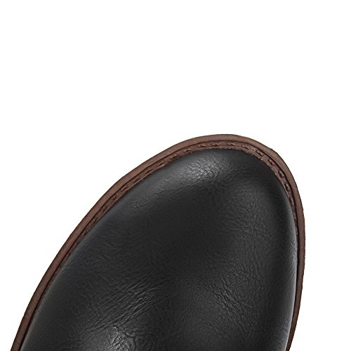AllhqFashion Womens Kitten-Heels Soft Material Low-Top Solid Zipper Boots Black vKI6BQ9dm
