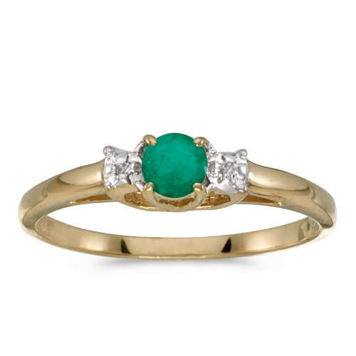 14k Yellow Gold Round Emerald And Diamond Ring (Size 7)