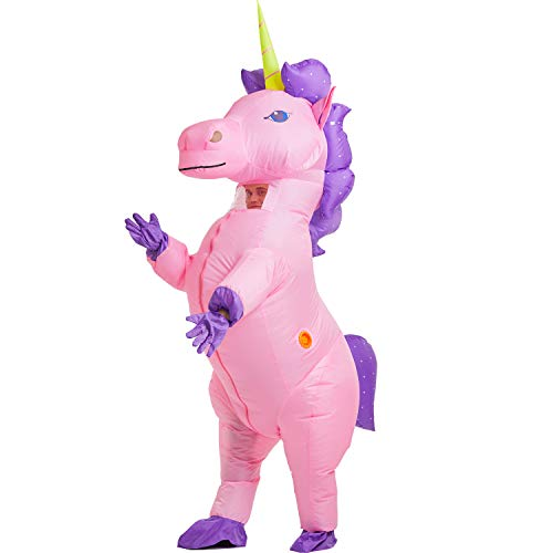 Easy Halloween Costumes For Guys To Make (YEAHBEER Inflatable Costume Dinosaur Costumes Unicorn Cosplay Costumes Halloween Costume Costumes (Rainbow Unicorn)