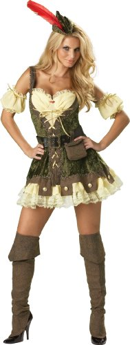 Robin Hood Ladies Fancy Dress (InCharacter Costumes, LLC Women's Racy Robin Hood Costume, Tan/Green, Medium)