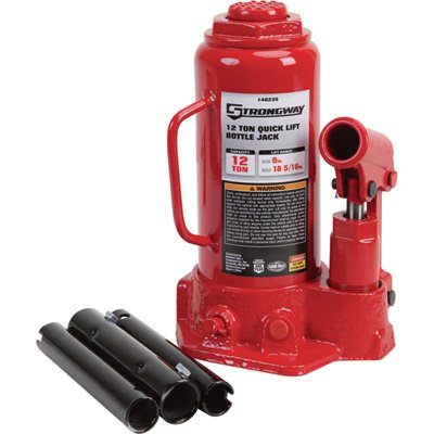 (Strongway Hydraulic Quick Lift Bottle Jack - 12-Ton Capacity, 9in.-18 5/16in. Lift Range)