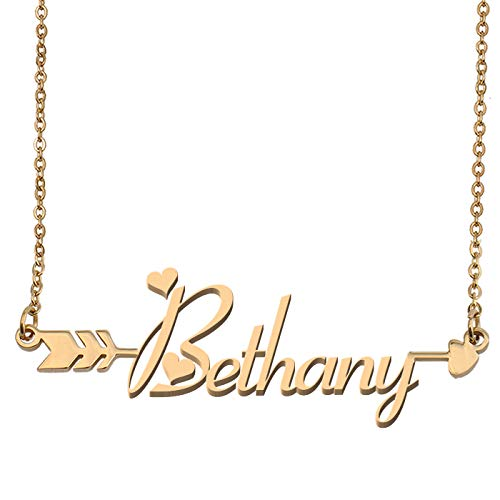 Aoloshow Customized Custom Name Necklace Personalized - Custom Bethany Initial Name Arrow Horizontal Monogrammed Necklace Gift for Womens Girls