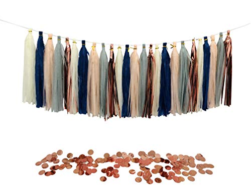 Tissue Paper Tassels Party Garland, 25pcs Rose Gold Foil Navy Blue Gray Beige Peach Tassel 10g Rose Gold Confetti Gift for Baby Girl Showers Birthday Weddings Bridal Shower Decorations]()