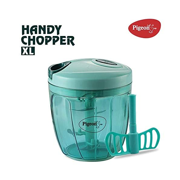 Success-Stationery-by-Pigeon-Handy-Chopper-XL-for-Chopping-Mincing-and-Whisking-with-5-Stainless-Steel-Blades-and-1-Plastic-Whisker-Green