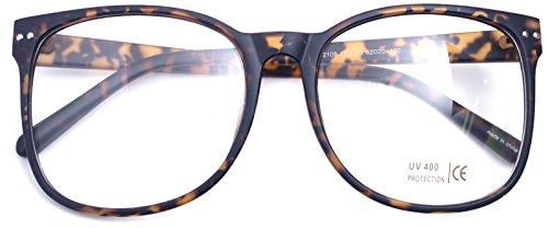 Oversized Big Round Horn Rimmed Eye Glasses Clear Lens Oval Frame Non Prescription (Matt Leopard - Fashion Men Eyeglasses