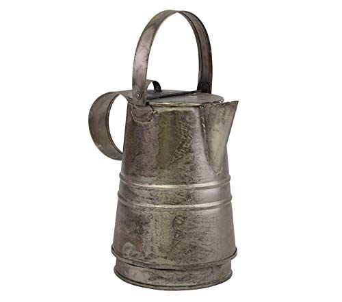 Stоnеbriаr Premium Decorative Antique Silver Metal Drinking Pitcher with Handle and Lid, Rustic Industrial Home Decor Accents ()