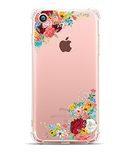 iPhone 8 Case iPhone 7 Case, Hepix Clear Soft Flexible TPU Watercolor Flowers Floral Printed Back Cover for iPhone 7 [4.7 inch]