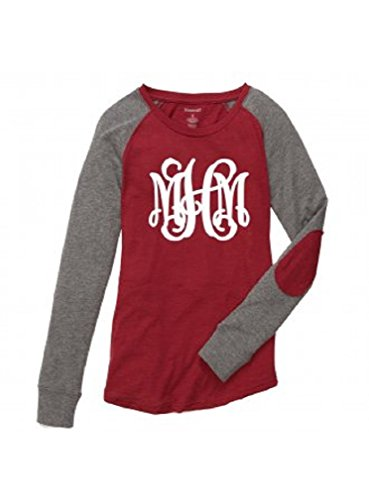 Boxercraft Women's Preppy Patch Long Sleeve Shirt Personalized MONOGRAMMED Garnet Grey