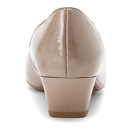 Micha Vestir Ara Taupe cotton Mujer Bomba Patent Para De 7wddPqf