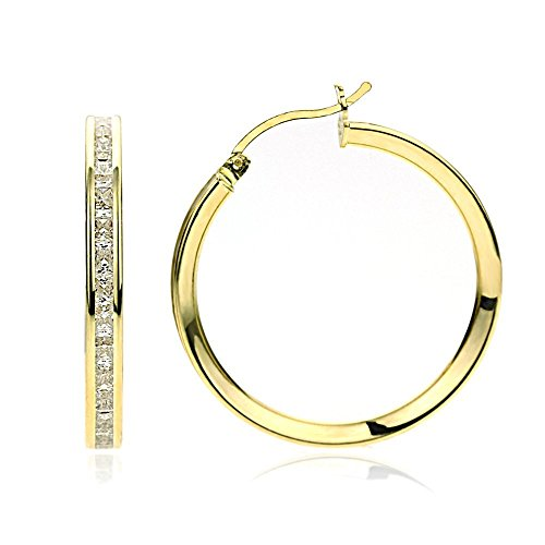 14K Yellow Gold 3mm Intriguing Princess CZ Stone Channel Set Eternity Round Hoop Earrings Womens