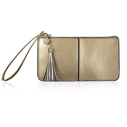 (Befen Soft Leather Wristlet Phone Wristlet Wallet Clutch with Wrist Strap/Card slots/Cash pocket- Fit iPhone 6S Plus/Samsung Note 5 – Light Gold)
