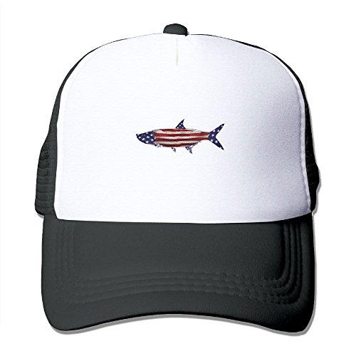 Tarpon Usa Flag Mesh Trucker Hat - Baseball Cap Black ()