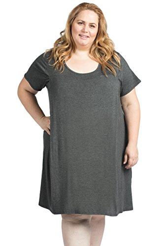 Savi Mom The Original Maternity Nursing/Breastfeeding Nightgown Dress Plus Size (4X, Charcoal Gray)