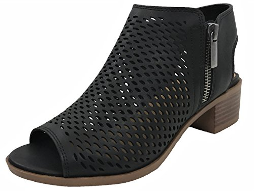 (Open Toe Ankle Strap Bootie Sandal Low Heel Perforated Cutout, Black, 10)