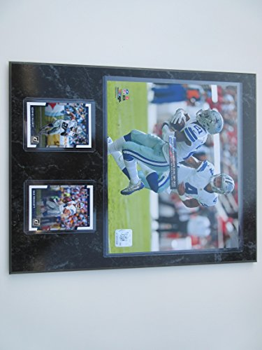 "Team Sports America DAK PRESCOTT DALLAS COWBOYS STAR QB HANDS OFF TO ROOKIE OF THE YEAR EZEKIEL ELLIOTT PHOTO PLUS 2 CARDS MOUNTED ON A "" 12 X 15"" BLACK MARBLE PLAQUE"
