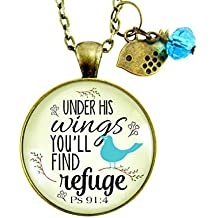 "24"" Bible Quote Necklace Under His Wings Find Refuge Psalm 91 4 Loving Promise Religious Jewelry For Women Bird"