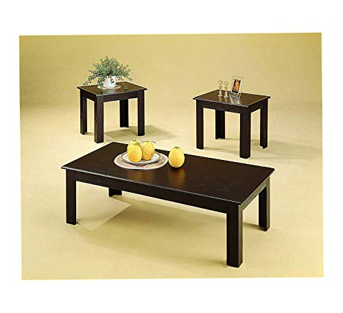 Wood & Style Furniture 3-Piece Parquet Occasional Table Set Cappuccino Home Office Commerial Heavy Duty Strong Décor