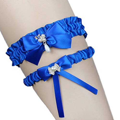 Bridal Wedding Accessory Royal Garter with Lace Rhinestones Leg Garter Set