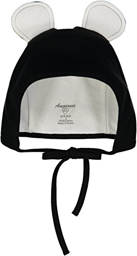 [Amoureux Bebe Ultra Soft Turkish Cotton Baby Hat Bonnet with Bunny Ears. Black] (Gumball Machine Costume For Kids)