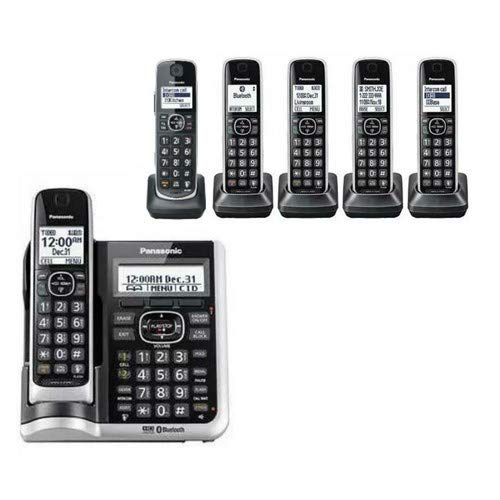 Panasonic KX-TG885SK + (1) KX-TGEA61B1 DECT 6.0 Link2Cell Bluetooth Enabled with Talking Caller ID 6 Handset Cordless Phone (Renewed) (6 Handset) (Dect 6 Panasonic Bluetooth)