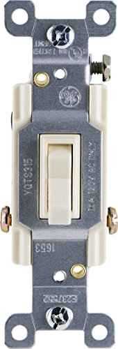 GE Grounding Toggle Switch, 3-Way, In Wall On/Off Fan & Light Switch Replacement, 15 Amp, Great for Home, Office & Kitchen, UL Listed, Light Almond, 18272