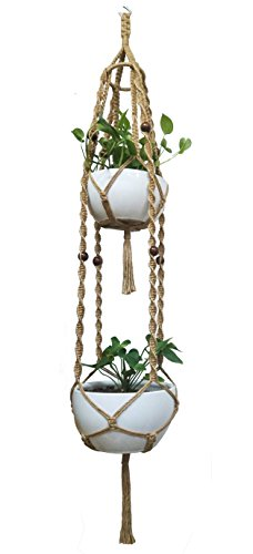 Macrame Plant Hanger & Holder, Hanging Planter 4 Legs Double Deck For 8 inch to 12 inch Two Pots Indoor Outdoor Hanging Planter Basket Hemp Rope 69 Inch with hard steel ring