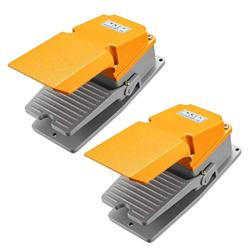 ZCHXD 2PCS LT4 SPDT NO NC 15A Industrial Electric Foot Pedal Switch with Guard, Aluminum Case