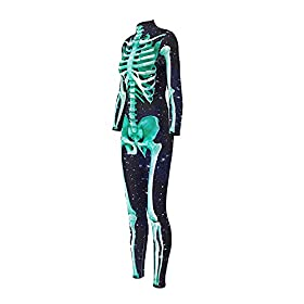 - 41VU9pbp6UL - Honeystore Women's Halloween Skeleton Catsuit Costume 3D Stretch Skinny Bodysuit