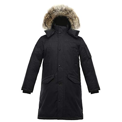 Triple F.A.T. Goose SAGA Collection | Eberly II Mens Hooded Goose Down Jacket Parka with Real Coyote Fur (Large, Black)