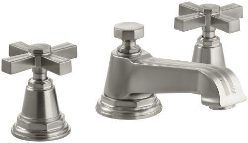 KOHLER K-13132-3B-BN Pinstripe Widespread Lavatory Faucet, Vibrant Brushed Nickel - Bn Pinstripe Handles
