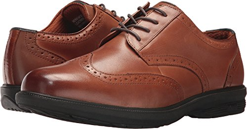 (Nunn Bush Men's Maclin Street Wing Tip Oxford with KORE Slip Resistant Walking Comfort Technology Tan 12 W US)