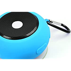 Ascar Waterproof Bluetooth Wireless Speaker | Portable Water Resistant Shower Speakerphone With Built-In Hook, Powerful Suction & Magnet | Ultimate Rechargeable Audio Soundbot (Blue)