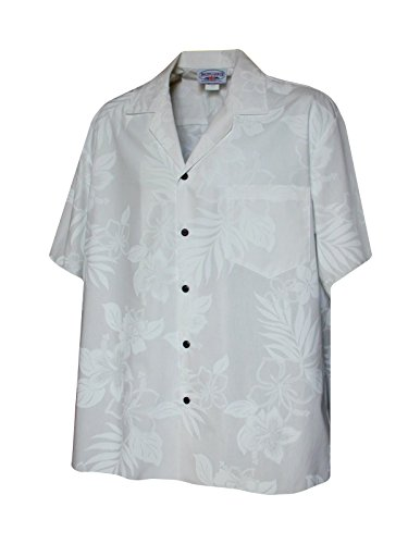 - Pacific Legend Mens White Wedding Tropical Floral Hawaiian Shirt (4X)