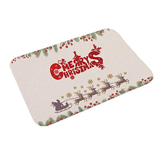 (Noon-Sunshine decorative-plaques Merry Christmas Door Mat Santa Claus Flannel Outdoor Carpet Christmas Decorations for Home Xmas Party Favors Year,Style)