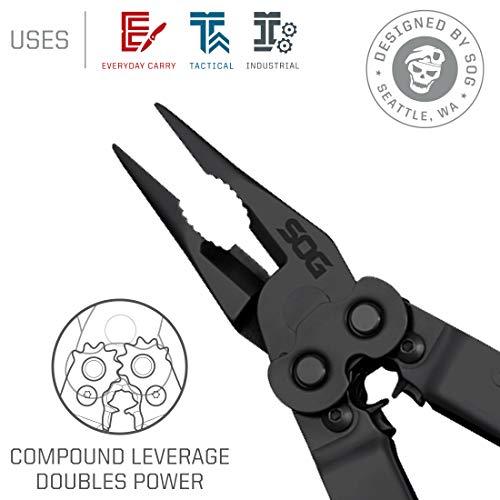 SOG Black Multitool Pliers Pocket Tool – PowerLock EOD Multi Tool Locking Knife with Sheath, Utility Tool Pliers, 18 Small Multi Tools (B61N-CP) by SOG (Image #1)