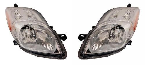(Go-Parts PAIR/SET OE Replacement for 2009-2011 Toyota Yaris Front Headlights Headlamps Assemblies Front Housing/Lens / Cover - Left & Right (Driver & Passenger) Side - (4 Door; Hatchback)