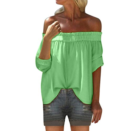 (Women's Plus Size Summer Casual Top, Loose Off Shoulder Solid Half Sleeve T-Shirt Blouse by JMETRIE Green)