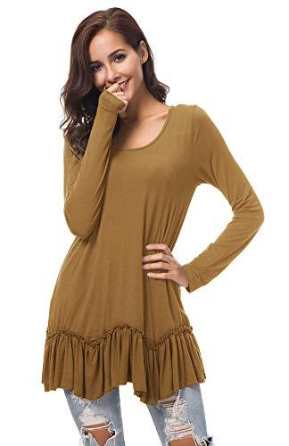 Urban CoCo Women's Casual T-Shirt Solid Long Sleeve Tunic Tops (S, Cashew)
