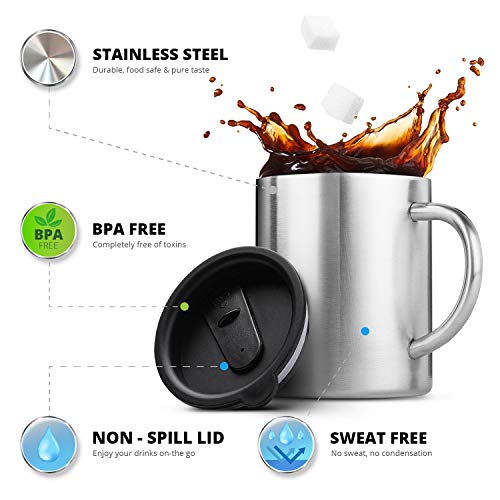 Tazas de café de acero inoxidable con tapa - Juego de 2 tazas de viaje con asa y doble pared aislante, a prueba de golpes, sin BPA, con tapas resistentes, ...