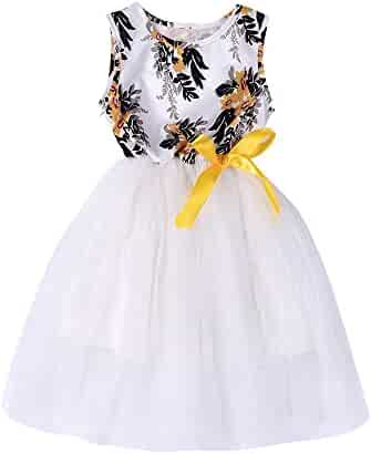 043c4e09869 Sunbona Infant Toddler Baby Girls Floral Print Sleeveless Tulle Tutu Dress  Summer Princess Casual Party Outfit