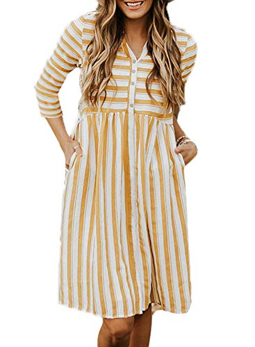 V Striped Neck Sleeve Down Button Orange Loose Anloli Women's 1 Dress Midi Short Printed IX6YT5q