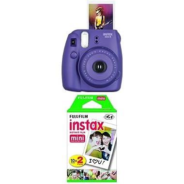 Fujifilm Instax Mini 8 Instant Film Camera (Grape) with Twin Pack Instant Film (White)